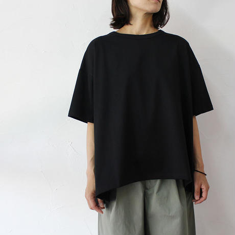 **再生産分到着** TRAVAIL MANUEL トラバイユマニュアル ミディ天竺バックフレアTシャツ #ホワイト、ブラック