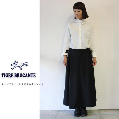 Tigre Brocante ティグルブロカンテ スーピマコットンフリルカラーシャツ ♯ホワイト、ブラック 【送料無料】