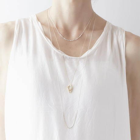 snake chain long necklace 13N103 / silver