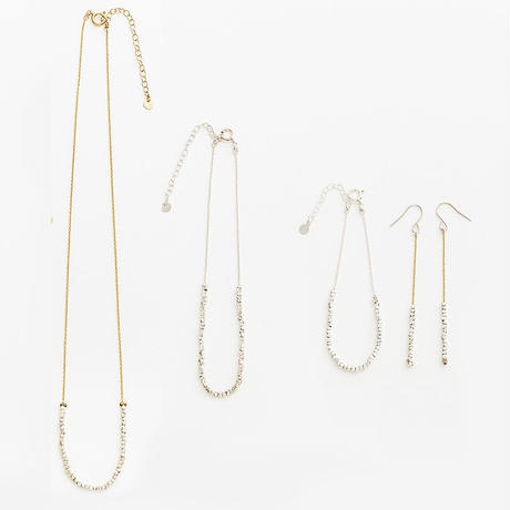 square beads long necklace 08N101-L  / silver
