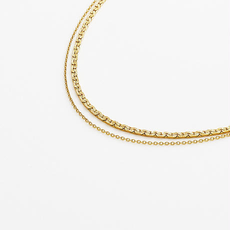 snake chain double strand necklace 13N102  / gold