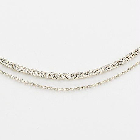 snake chain double strand necklace 13N102 / silver