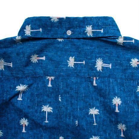 Hawaiian Button Down Long Sleeve Shirts - Palm Trees Blue / Made in Hawaii U.S.A.