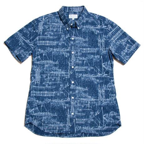 Men's Hawaiian Button Down Shirts - Hawaii Canoe Navy