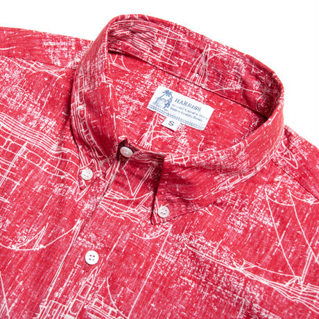 Men's Hawaiian Button Down Shirts - Hawaii Canoe Red