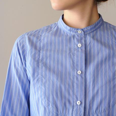 Houttuynia cordata スタンドカラーシャツ フロントヨーク 長袖 stripe