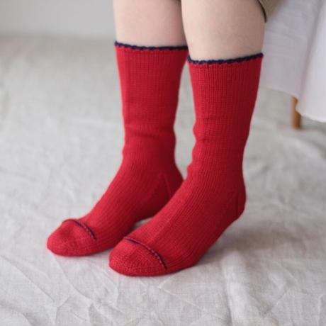 Meg KNITTING ウール手編み靴下 ライン入り 【Men's 25.5cm〜27.5cm】