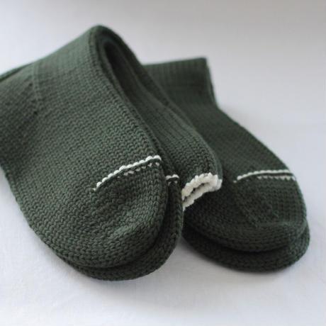 Meg KNITTING ウール手編み靴下 ライン入り 【Women's】