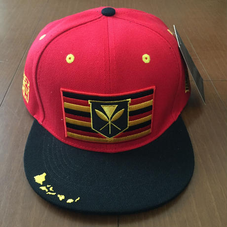 "HAWAII'S FINEST ""KANAKA FLAG"" SNAP BACK HAT  RED"