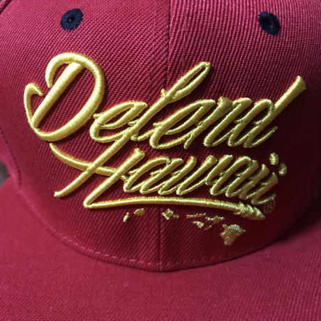 "DEFEND HAWAII ""DEFEND HAWAII LOGO"" MAUNA KEA RED HAT"
