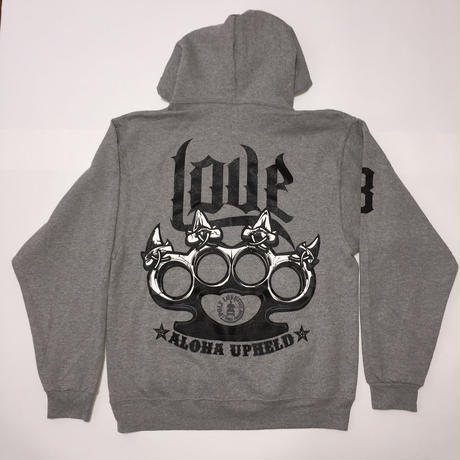 "POLY LOVE HAWAII ""ALOHA UPHELD"" Pullover Hoodie Gray"
