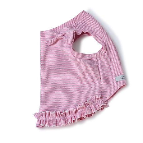 クール素材、裾フリルリボン付きタンク[ピンク]