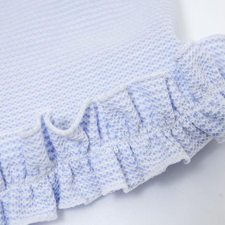クール素材、裾フリルリボン付きタンク[ブルー]