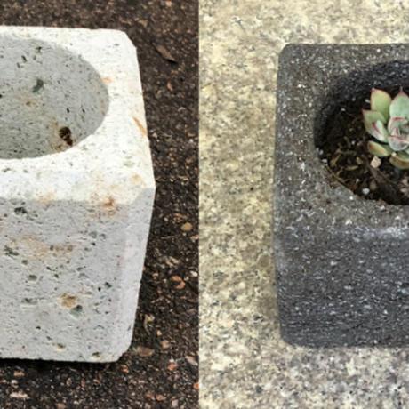 【植木鉢】【国産溶岩石・大谷石】 溶岩石フラワーポット(角)