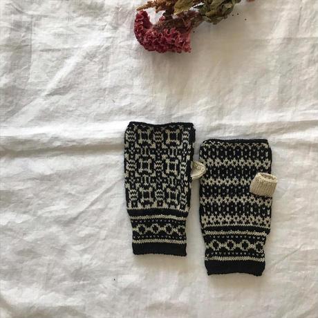 ゆびなしミトン patterns ブラック×オフホワイト