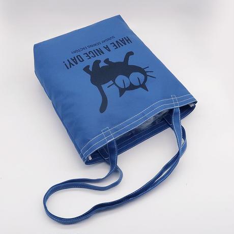11号帆布 のんき猫ロングハンドルトートバッグ #111010-005BLU