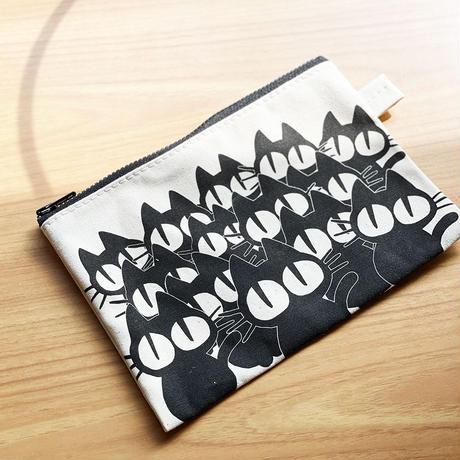 猫だらけ キャンバスポーチ M [Natural]  鎌倉・日本製
