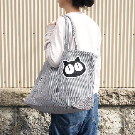 【1点もの】ワッペン付き大きめトートバッグ [ヒッコリー]