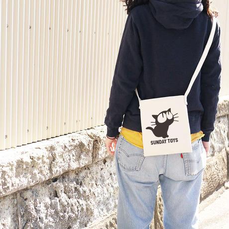 見上げる猫サコッシュ(ミニショルダーバッグ) [Natural] 鎌倉・日本製