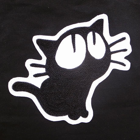 【1点もの】見上げる猫 チェーン刺繍ワッペン キャンバストートバッグ