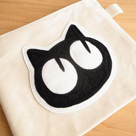 【1点もの】でか顔ワッペン キャンバスポーチ M [Natural] 鎌倉・日本製