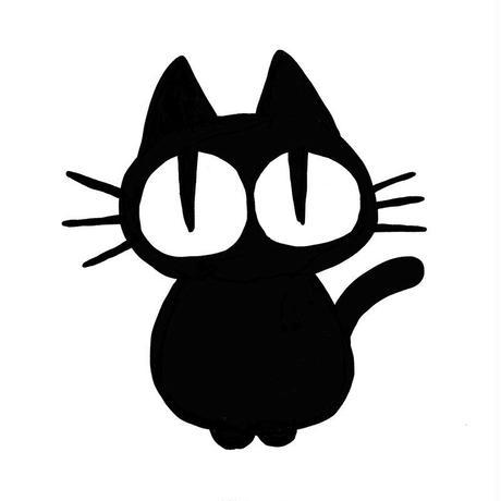 お座り黒猫 Tシャツ[WHITE]