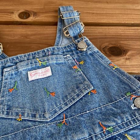 【90cm】USA GUESS flowers Denim Shortalls
