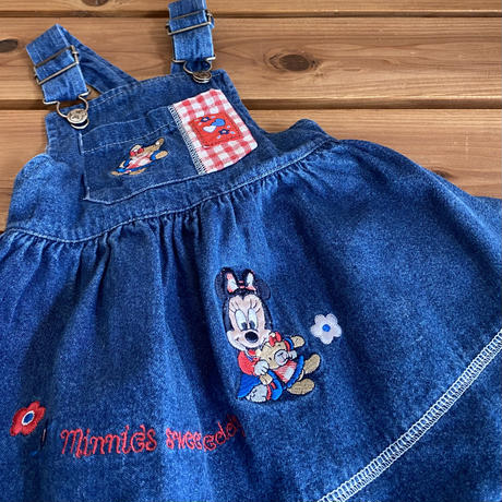 【80cm】Vintage Minnie Denim Onepiece