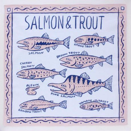 オカタオカ|SALMON & TROUT(ハンカチ)