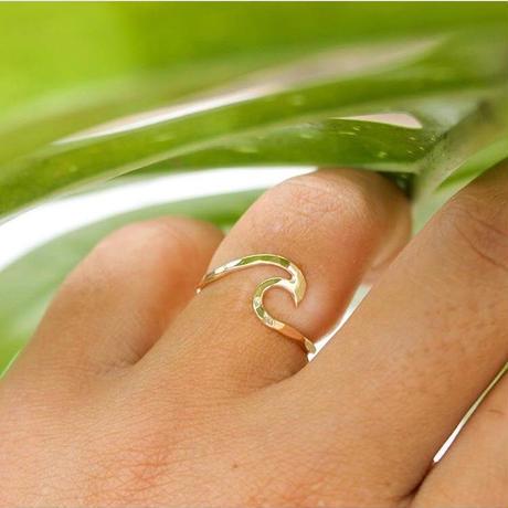 ハワイ Mo Made Jewelry ウェーブリング ゴールド 14Kgf