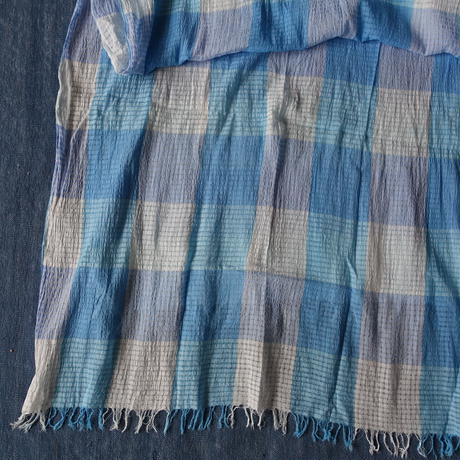 TC Khadi Border & Plaid Stole (Blue Gingham)