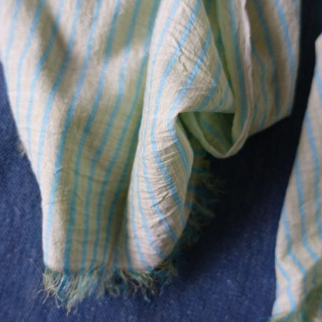 Cotton Silk Khadi Stole (Green Stripe)