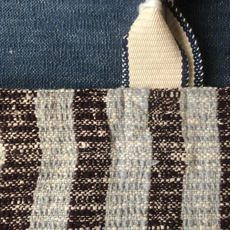 Gara-bou × Canvas Large Tote (Blue gray stripe)