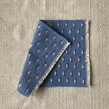 Fine Cotton Indigo Jacquard Mat 55×70 (Light Indigo)