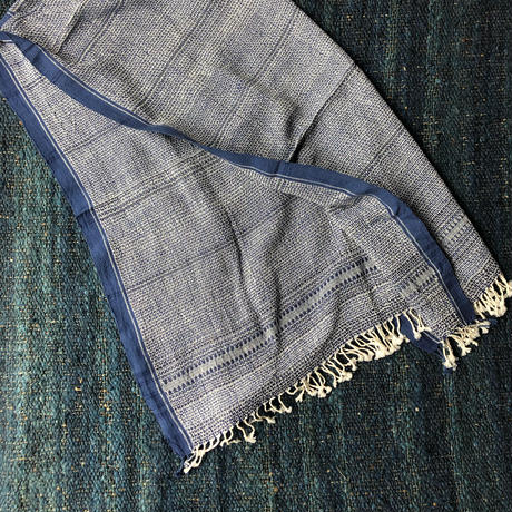 Organic Khadi Basket Bath Towel (Indigo Chambray)