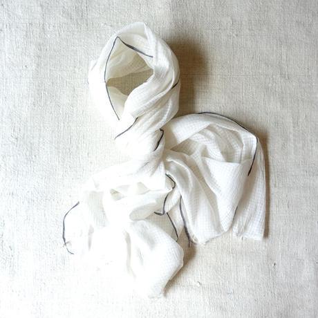 TC Khadi Chambray Stole (White)