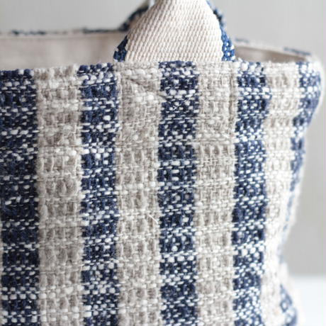 Gara-bou × Canvas Small Tote (Indigo Gray Stripe)