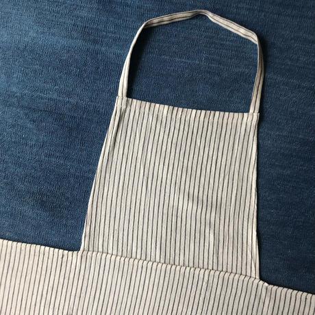 Organic Khadi Full Apron (Charcoal Pin Stripe)