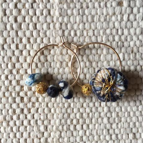 Cotton Daisy Circle Pierce (Dark Indigo)