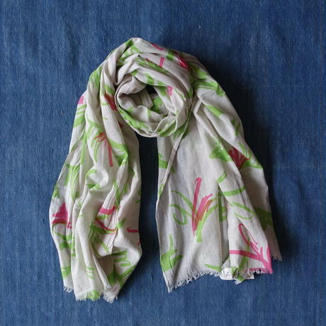 #150 Khadi Leaf Print Big Stole 112 × 180cm  (Green)