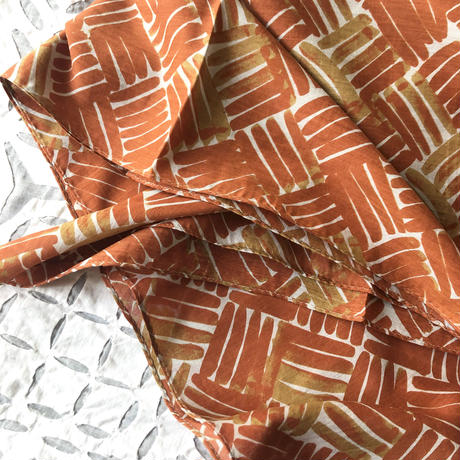 Cotton Silk  Printed Stole S (Woven Orange)