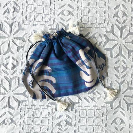 Plaid Printed Drawstring Bag L (Blue)