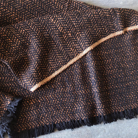 Gara-bou Blanket Stole Kabe 100×190cm (Herringbone - Navy orange)