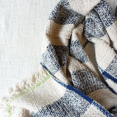 Gara-bou Medium Stole 1ply 50×190cm (Big Border - Ivory)