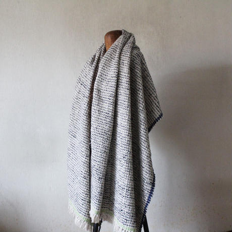 Gara-bou Blanket Stole Kabe 100×190cm (Light Gray Pin Border)