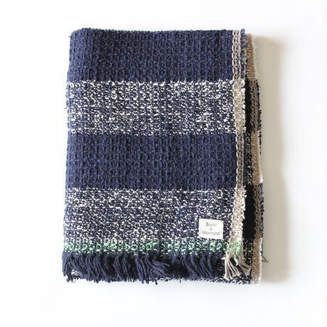 Gara-bou Medium Stole 50×190cm (Indigo Big Border)