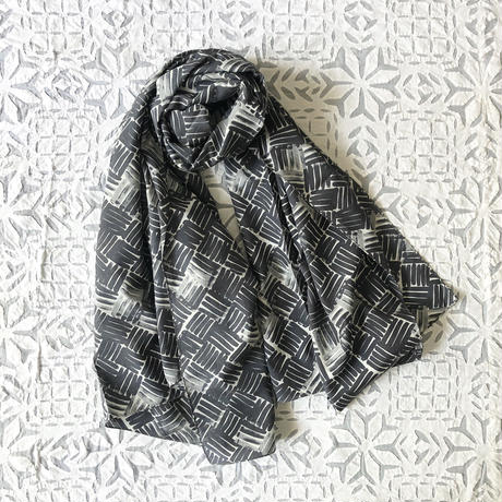 Cotton Silk  Printed Stole L (Woven Gray)