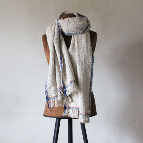 Gara-bou Medium Stole Kabe 50×190cm (Herringbone - Navy gray)