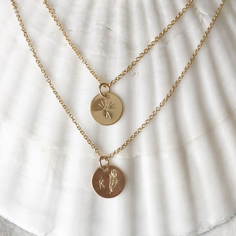 【Risusu Lenis】Initial  Stamp Necklace