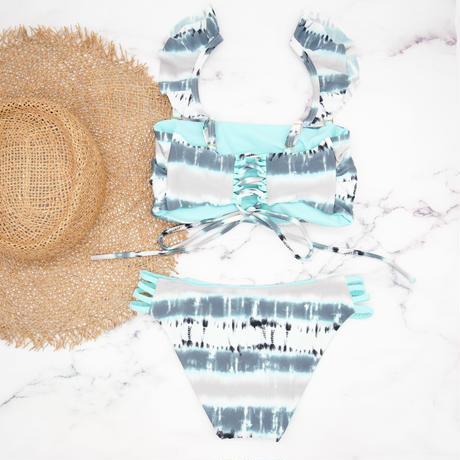 即納 Jointed frill reversible bandeau bikini Sky marble